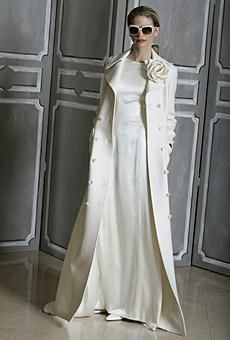White Autumn Formal Garment A-line Trench Coat Wedding Gown ...