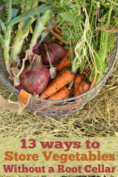 I don't know anyone with a root cellar so this info is great to have: How To Store Vegetables Without A Root Cellar - The Prairie Homestead