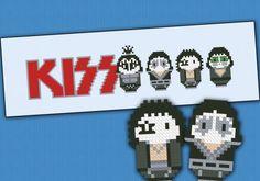 Kiss rock band cross stitch pattern