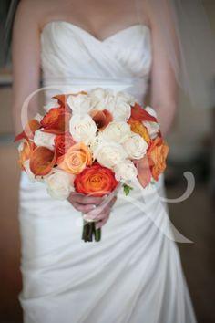 Orange and cream wedding bouquets Kate Ashton Florists