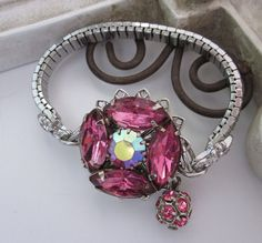 PINK Rhinestone Vintage Repurposed Bracelet  Prom by jryendesigns, $39.00