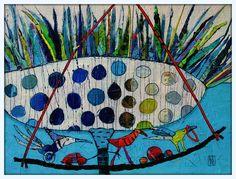 Elke Trittel acrylic collage on board 30x40cm
