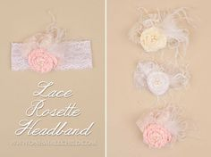 Lace Flower Christening Headbands | One Small Child