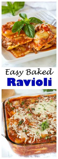 Easy Baked Ravioli – Just a few simple ingredients for a super easy, cheesy, and delicious dinner recipe the whole family will love.