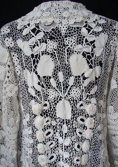 Maria Niforos - Fine Antique Lace, Linens & Textiles : Antique Edwardian & Victorian Clothing # CL-52 Circa 1900, Superb Irish Crochet Coat