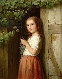 Young Girl Standing in a Doorway Knitting (1863) Meyer von Bremen (1813-1886) German Oil on canvas