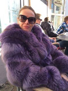 dyed purple fox fur coat