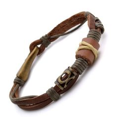 K Mega Jewelry 15mm Brown Tribal Leather Wristban ($7.99)