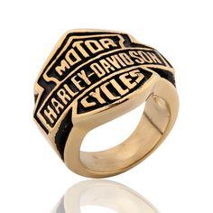 Mens Harley Gold Tone Black Stainless Steel Biker Motorcycle Rings Size 9 13 | eBay