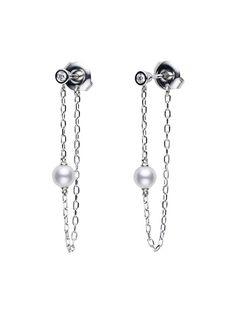 Kate Wood Jewellery Pearl and Oxidised Silver Cluster Hoop Earrings nfQRnW9T