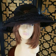 CHRISTIAN DIOR  NAVY HAT Awesome!!  22 inches. Stunning CHRISTIAN DIOR! It is classic and elegant to wear anywhere Mint condition.  I love the floppy design and all the netting on top with bow. vintage christian dior Accessories Hats