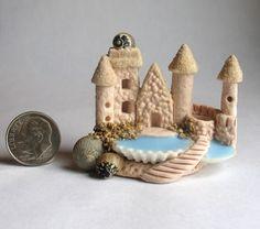 Handmade Miniature Sandy Castle Sea Shell Fairy House Coves OOAK by C Rohal | eBay