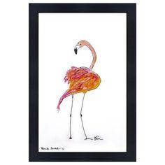Catchii Abbildung, einschließlich Rahmen, mit ursprünglich handgemalten Illustration Flamingo zurück