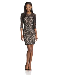 Long-Sleeve Deco-Lace Dress by Adrianna Papell
