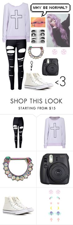 """""""L O V E M E"""" by trash-117 ❤ liked on Polyvore featuring WithChic, Wildfox, Hot Topic, Fuji and Converse"""