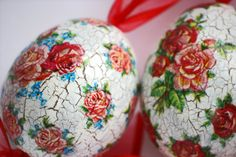 Set of 3 Handmade Decoupage Eggs Decorated with Roses and by gudzy, $21.00