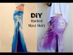 Trash To Couture: DIY ruched maxi skirt. Diy Maxi Skirt, Maxi Skirt Tutorial, Shirt To Skirt, Scarf Shirt, Diy Clothes Design, Jersey Maxi Skirts, Trash To Couture, Dress Tutorials, Boho Skirts