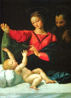 """#3. This painting was done by Raphael and is called """"Madonna of Loreto"""". In order to get an understanding of the true meaning behind this work of art, you must use context. The veil that the woman (Madonna) is holding over the child symbolizes the veil that baby Jesus was wrapped in when in the nativity and then later during his crucifixion. The man in the background, probably Joseph, is looking after the child and seems as though he will guide him through out his life."""