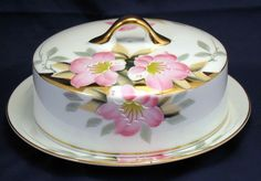 Noritake Azalea  Covered Butter dish with lid - red mark