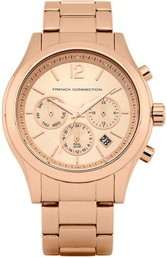 French Connection, Gold Watch, Watches, Accessories, Products, Wristwatches, Clocks, Gadget, Jewelry Accessories