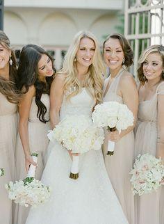 Glamorous Palm Beach Wedding, Bride with Bridesmaids Holding White Bouquets   Brides.com