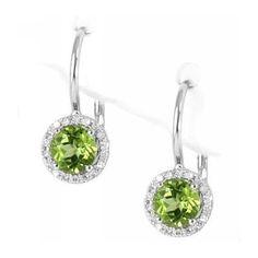 Beautiful Birthstone #Jewelry Green Peridot & Diamonds Earrings 14k White Gold
