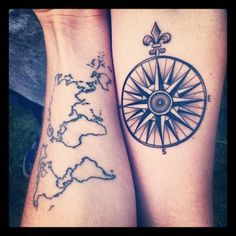 Friendship tattoos   37 - world map and compass on arms