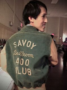 This incredible original jacket belongs to Rudy Winter's father who was once a member of the Savoy Ballroom elite club called the 400 Club. Member privileges included being able to gain access to the Savoy Ballroom during closed hours, like during the day when the band is rehearsing/practicing. Rudy's father mostly did recreational dancing and also some competing and taught him how to dance. He passed away when Rudy was 4. (worn by Voon Wai)
