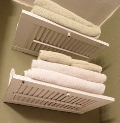 Shutter Shelves (another great idea of storing / displaying towels in the bathroom)