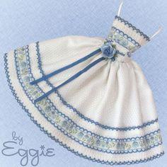Bird's Eye Blue - Vintage Barbie Doll Dress Reproduction Repro Barbie Clothes