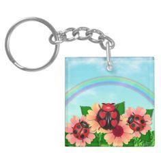 """Ladybug Love"" in the grass Keychain"