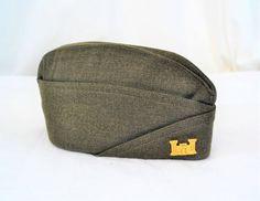 Vintage Korean era olive drab wool garrison overseas uniform cap with Corps of Engineer insignia Army Uniform, Vintage Inspired Dresses, Historical Clothing, Different Styles, Vintage Items, Korean, Cap, Wool, Metal