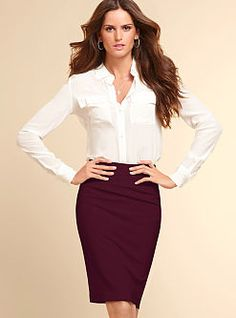 Take your fall fashion to the office, with the dark red basic pencil skirt from Victoria's Secret! Look professional, fashionable, and beautiful.