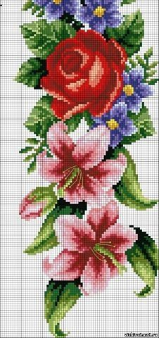 Cross Stitch Charts, Cross Stitch Designs, Cross Stitch Patterns, Cross Stitch Flowers Pattern, Beaded Flowers, Diy Flowers, Teddy Bear Patterns Free, Art Drawings Beautiful, Seed Bead Patterns