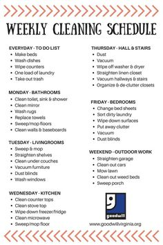 Weekly cleaning checklist ready for spring. Weekly Cleaning, Cleaning Checklist, House Cleaning Tips, Diy Cleaning Products, Cleaning Solutions, Cleaning Hacks, Cleaning Lists, Apartment Cleaning Schedule, Spring Cleaning Schedules