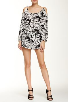 Cold Shoulder Printed Romper by Necessary Objects on @nordstrom_rack