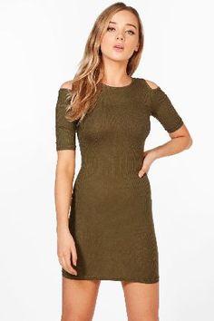 #boohoo Cold Shoulder Midi Dress - green CZZ95542 #Millie Cold Shoulder Midi Dress - green