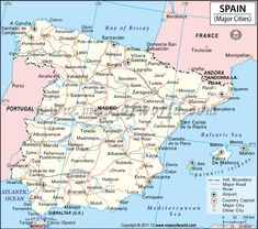 spain cities map