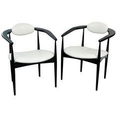 Pair of Black Lacquered Mid Century Chairs | 1stdibs.com