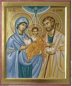 Holy Family by Luisanna Garau Byzantine Icons, Byzantine Art, Beautiful Wallpaper Photo, Famous Freemasons, Jesus E Maria, Christ Is Risen, Religious Images, Madonna And Child, Holy Family