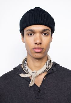 Cotton Beanie, Latest Mens Fashion, Men's Fashion, Margaret Howell, Black Linen, Paisley Print, Work Wear, Knitted Hats, Scarves