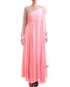 f4d31f33a0e ... Yoke Suit in Full Sleeves and Jewel Neckline Along with Pink Sequined  Dupatta. Net