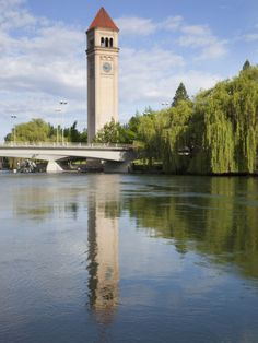 Clock Tower by the Spokane River, Riverfront Park, Spokane, Washington, Usa Photographic Print