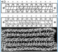 Loom Knitting stitches - work and diagram