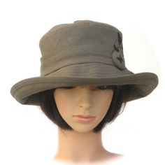 khaki hemp/organic cotton with butterfly print - Rosehip Hat Studio
