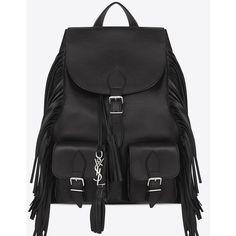 Saint Laurent Festival Fringed Backpack ($1,745) ❤ liked on Polyvore featuring bags, backpacks, black, black backpack, chain strap shoulder bag, yves saint laurent, shoulder strap backpack and drawstring backpack bags