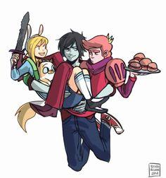 Fiona and Cake, Marshall lee and Prince Gumball,
