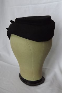 Vintage 1940's Black Wool Woman's Hat by ThatsSewTimeless on Etsy, $38.00