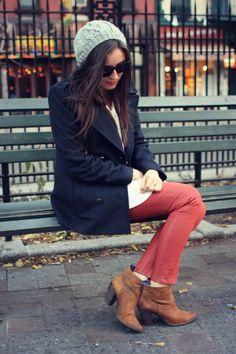 pea coat + coated denim