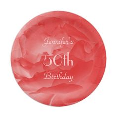 Coral Rose Paper Plates, 50th Birthday Paper Plate